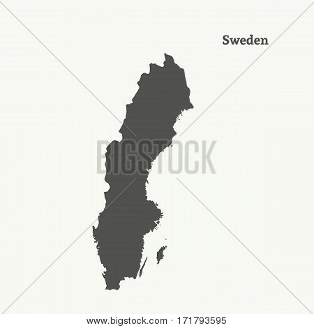 Outline map of Sweden. Isolated vector illustration.