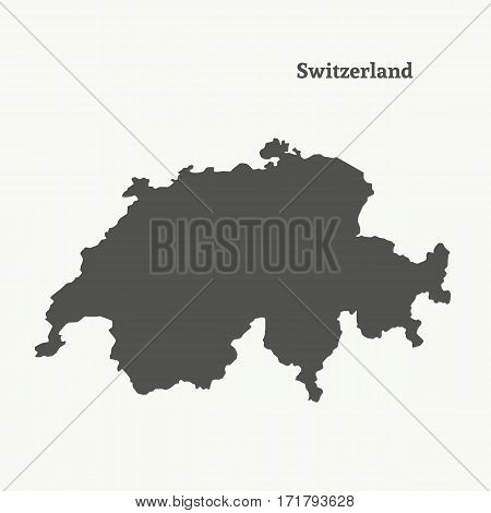 Outline map of Switzerland. Isolated vector illustration.