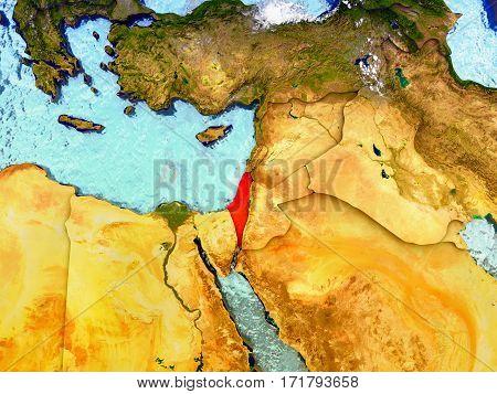 Israel On Illustrated Globe