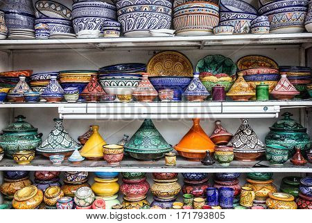 Ceramicl utensil on Moroccan souvenir shop tajines