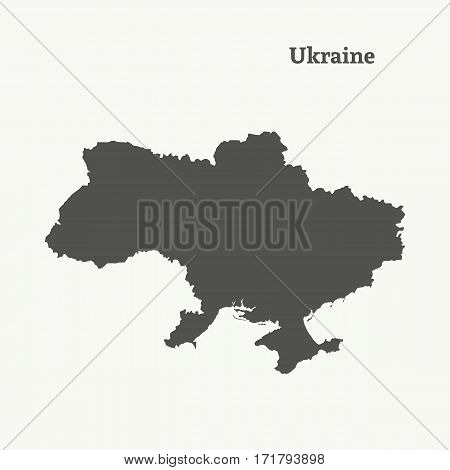 Outline map of Ukraine. Isolated vector illustration.