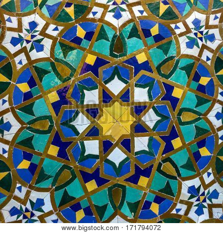 Moroccan mosaic tile ceramic decoration of Hassan II Mosque, Casablanca, Morocco
