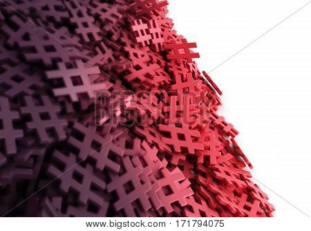 Infinite Red Hash Tag On A Plane Original 3D Rendering Illustration