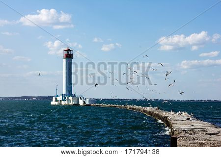 Old Vorontsov lighthouse in Odessa harbor, Ukraine.