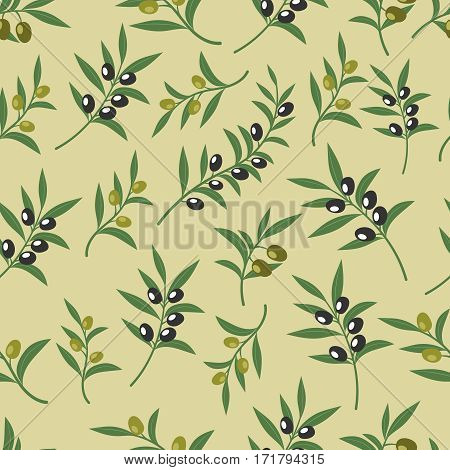 Olive vector seamless pattern with leaves, olives and branches. Texture for fabric or paper print. Background with organic olives illustration