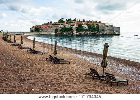 Summer resort landscape, Island of Saint Stephen, Budva, Adriatic sea, Montenegro