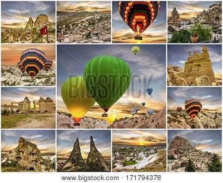 Cappadocia, Turkey. Collage travel - cave mountain landscapes