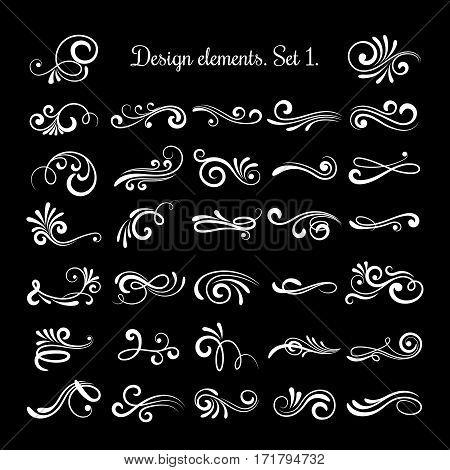 Vector line vintage scroll items for ornate design. Flourish retro lined divider. Filigree scroll swirl of set illustration