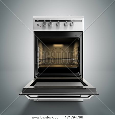 Open Gas Stove 3D Render Isolated On A Grey Background