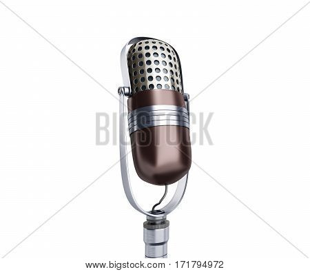 Vintage Silver Microphone Close Up Isolated On White Background 3D Render