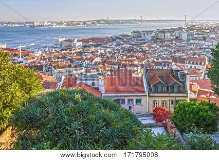 Lisbon houses panoramic view, Lisboa, Portugal city