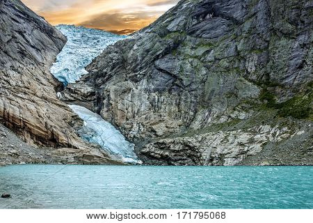 Glacier Briksdal in national park, Norway. Lake