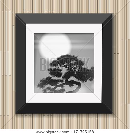 Japanese painting graphic art in frame with pine and moon on wooden background vector illustration. Picture tree in moonlight