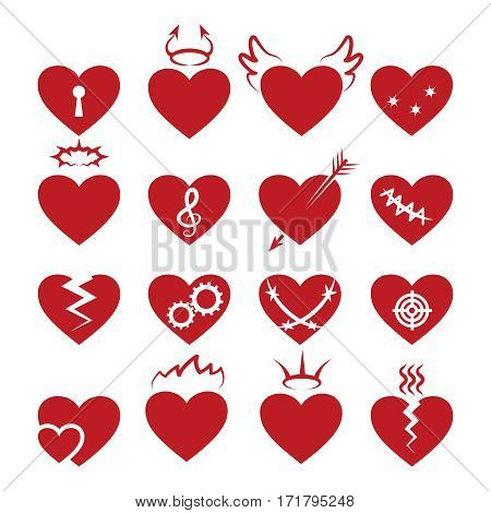 Simple abstract heart shapes icons. Vector burned and broken, pierced by arrow, and with keyhole hearts signs. Set of red hearts illustration