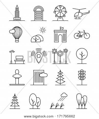 Line art house urban landscape icons. Linear trees and houses, nature and city linear signs. Urban landscape home and plant. Vector illustration