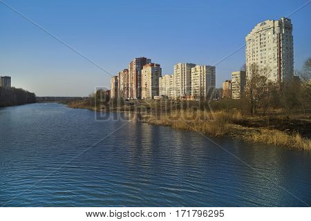 New residential district on the bank of the river Pekhorka. Balashikha, Moscow region, Russia.
