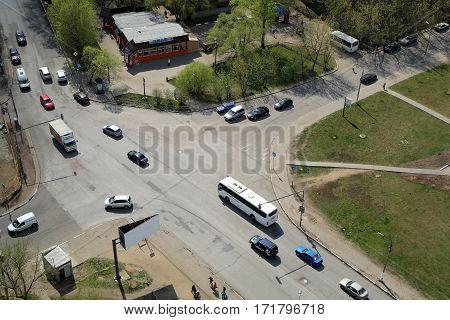 BALASHIKHA/ RUSSIA - APRIL 29. Top view of city crossroad on April 29, 2014 in city Balashikha, Moscow region, Russia.