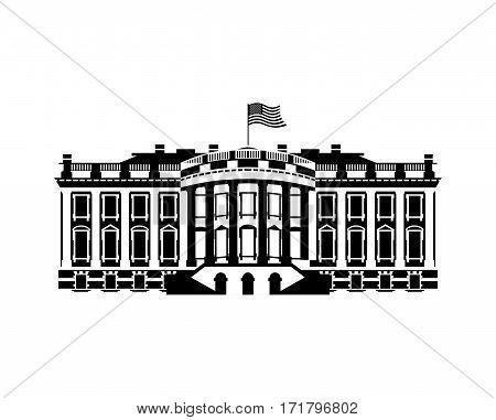 US White House sign icon. America government building. mansion President. USA political landmark