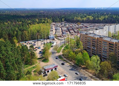 BALASHIKHA/ RUSSIA - APRIL 29. Aerial view of residential district near the big forest on April 29, 2014. City Balashikha, Moscow region, Russia