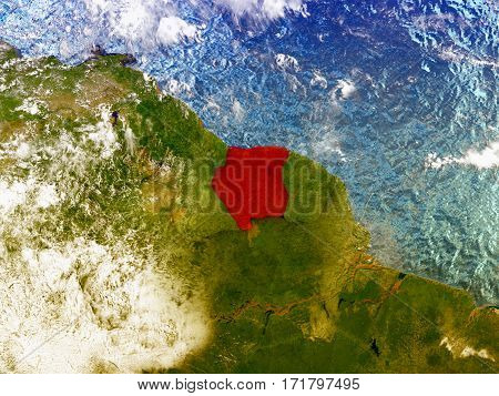 Suriname On Illustrated Globe
