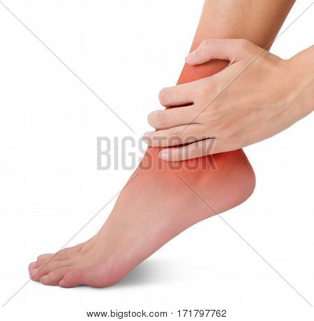 woman hand holding her beautiful healthy foot and massaging ankle in pain area with red highlighted Isolated on white background.