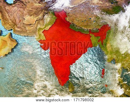 India On Illustrated Globe