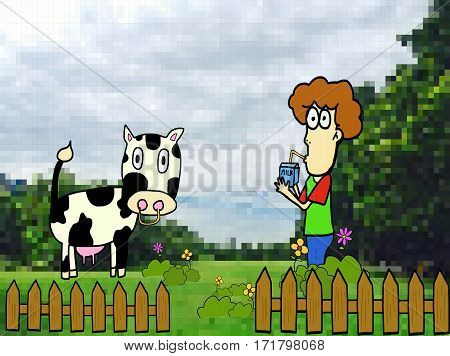 handsome boy standing in cow farm with drinks milk and wooden fence among blossoming meadow , pixel green garden backgrounds ,Concept for healthy food. Cartoon vector illustration