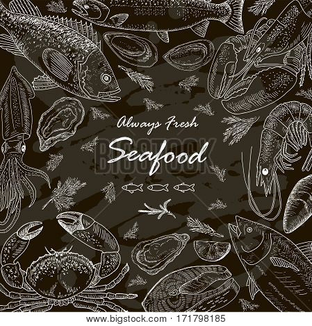 Seafood set on chalkboard. Vintage design with hand drawn sketch illustration. Line art style.