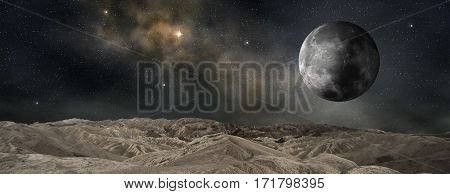 lunar satellite of an outer planet 3d illustration