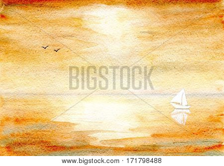 Seascape in color ocher, yacht and birds on the horizon, hand-painted watercolor illustration and paper texture