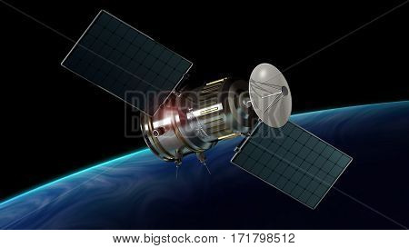 satellite orbiting the planet earth 3d illustration