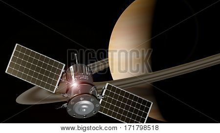 spaceship orbiting the planet saturn 3d illustration
