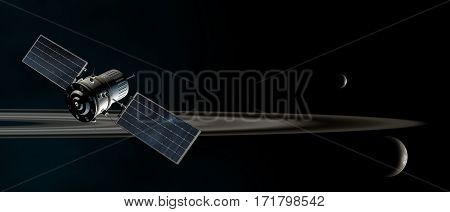 satellite orbiting the saturn rings 3d illustration
