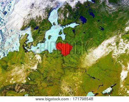 Lithuania On Illustrated Globe