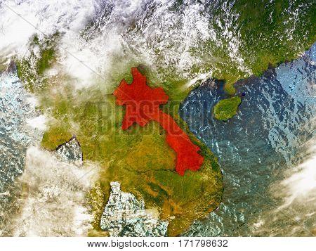 Laos On Illustrated Globe