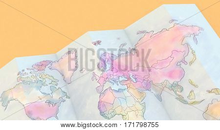 3D Rendering Colorful Maps On Yellow Background