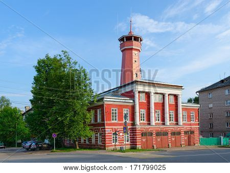 UGLICH RUSSIA - JULY 19 2016: Building of fire station with watchtower (built in years 1809-1811 on standard project authored by Luigi Rusca)