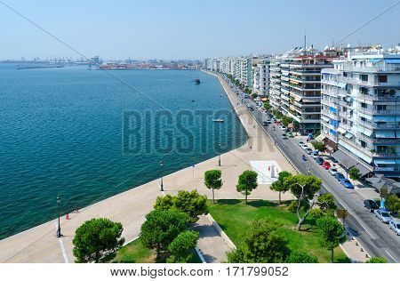 THESSALONIKI GREECE - AUGUST 13 2014: View from above on seafront and Thermal Bay in Thessaloniki Greece