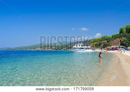 SITHONIA GREECE - AUGUST 16 2014: Pleasure boat within framework of cruise