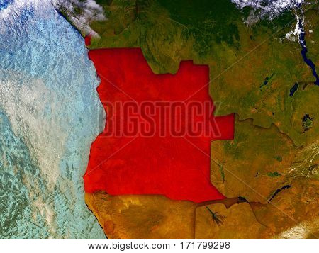 Angola On Illustrated Globe