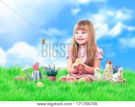 Child on the green grass. Blue sky. A little girl with cute Chicks. Basket flowers