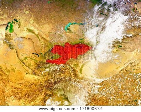 Kyrgyzstan On Illustrated Globe