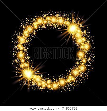 Gold glow glitter circle frame with stars on black background. Vector illustration.