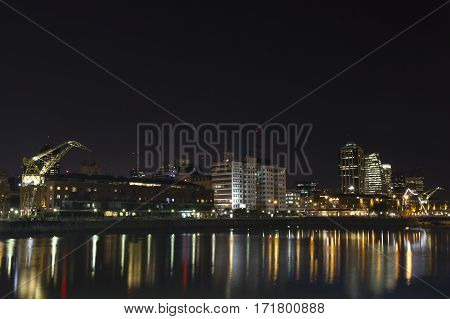 Buenos Aires Argentina. Puerto Madero by night. it's a district at Buenos Aires occupying a portion of the Río de la Plata riverbank and representing the latest architectural trends in Buenos Aires