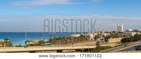 Panoramic view of the Mediterranean sea Haifa Bay and Bat Galim neighborhood in Haifa Israel