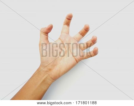 Deformed hands on a white background.Deformed hands on a white background.