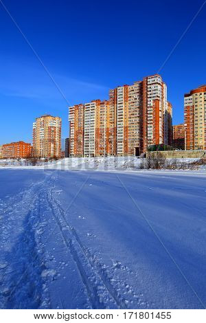 A new residential district on the banks of the river Pekhorka. Balashikha, Moscow region, Russia.