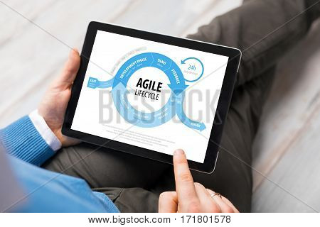 Agile life-cycle graph on tablet computer screen