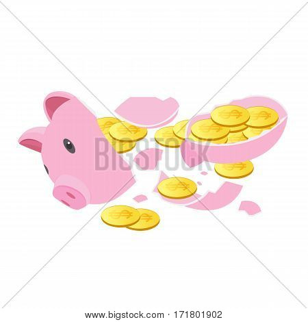 The Pink Pig piggy bank with coins falling out.