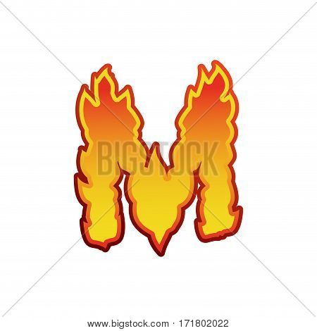 Letter M Fire. Flames Font Lettering. Tattoo Alphabet Character. Fiery Sign Alphabet